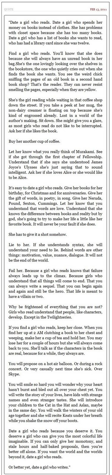 A girl who read or writes
